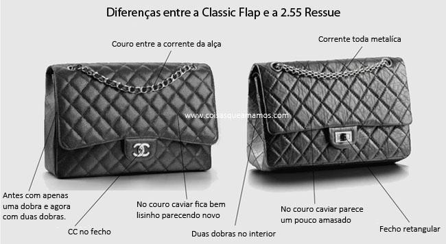 coisas que amamos detalhes da chanel comparação classic flap e 255